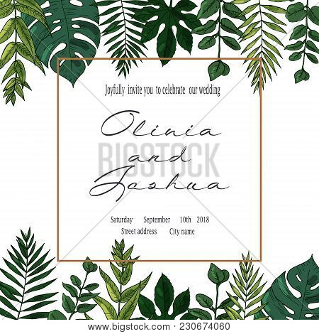 Vector wedding invite invitation save the date floral card design. Green fern, forest leaves herbs, greenery plant mix. Natural botanical Greeting editable template. Geometrical golden Frame, border stock photo