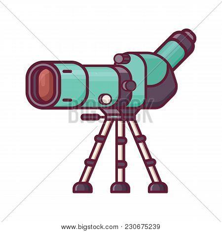 Birdwatching monocular in line art. Travel spotting scope on tripod icon. Birding telescope for watching birds and wildlife in flat design. stock photo