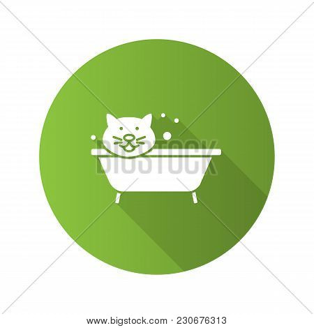 Bathing cat flat design long shadow glyph icon. Grooming service. Pets hygiene. Vector silhouette illustration stock photo