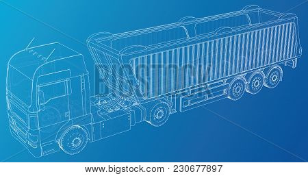 Semi-trailer dump truck sketch. Eurotrucks vehicle. Tracing illustration of 3d. EPS 10 vector format stock photo