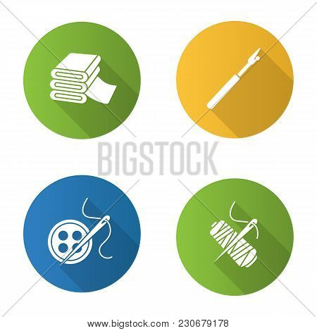Tailoring flat design long shadow glyph icons set. Sewing seam ripper, needle, thread spool, buttons, fabric stack. Vector silhouette illustration stock photo
