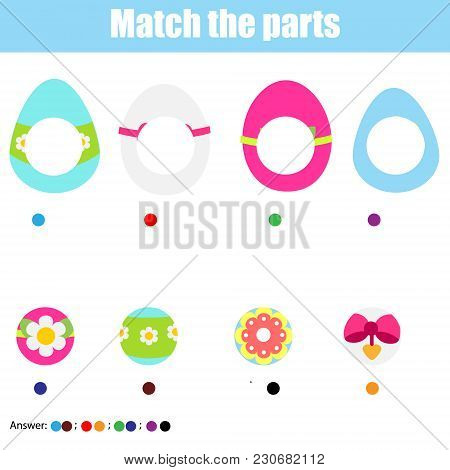 Matching children educational game. Find missing part. Puzzle activity for pre shool years kids and toddlers. Easter theme stock photo