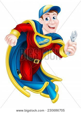 Illustration of a cartoon mechanic or plumber superhero mascot holding a spanner or wrench stock photo