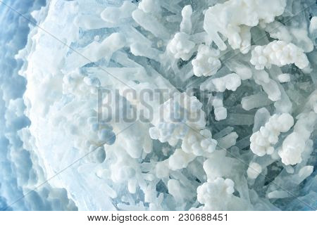 Macro shooting of Druzes of salt. Druzes of crystals of salt. Structure of mineral. Abstract background. stock photo