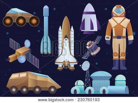 Spacecrafts, colony building, rocket, cosmonaut in space suit, sattelite and mars robot rover set. Vector galaxy space set stock photo