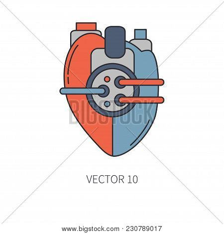 Bionic heart prosthesis color line icon. Bionic prosthesis. Biotechnology futuristic medicine. Future technology. Medical artificial mechanical robot implant sign and symbol. Transplantation. Amputee. stock photo