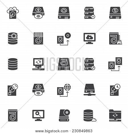 Data recovery elements vector icons set, modern solid symbol collection, filled style pictogram pack. Signs, logo illustration. Set includes icons as cloud backup, upload hard drive, computer server stock photo