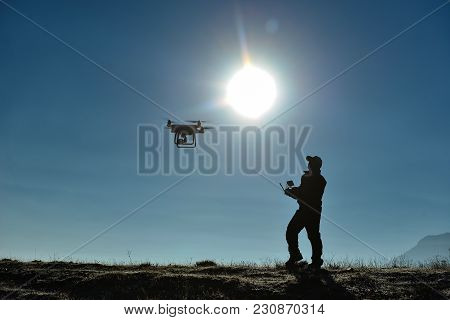 drone flight test and training ; flying drone education stock photo