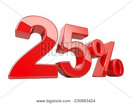 Twenty five red percent symbol. 25% percentage rate. Special offer discount. 3d illustration isolated over white background. stock photo