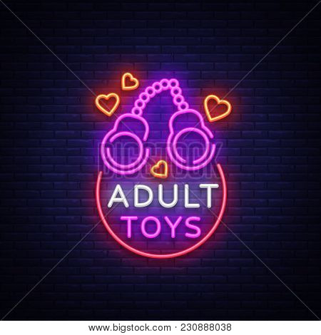 Adult toys logo in neon style. Design template, sex shop neon signs, light banner on the theme of the sex industry, vivid neon ad for your projects. Vector illustration. stock photo