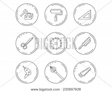 Scissors, paint roller and repair tools icons. Fretsaw, circular saw and brush linear signs. Triangular rule, drill icons. Linear Circles web buttons with icons. Vector stock photo