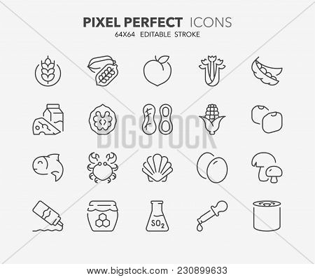 Thin line icons set of food allergens, including the 14 allergies outlined by the EU European Food Safety Authority which encompass the big 8 FDA Major Allergens. Outline symbol collection. Editable vector stroke. 64x64 Pixel Perfect. stock photo