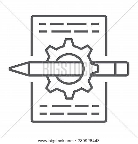 Content management thin line icon, development and business, seo sign vector graphics, a linear pattern on a white background, eps 10. stock photo