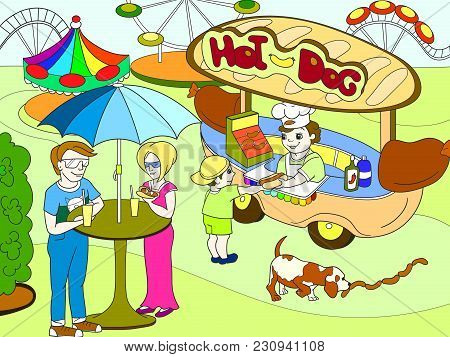 Amusement park color pages for children. Hot dog. Food Truck vector illustration stock photo
