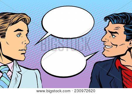 two men dialogue. Pop art retro vector illustration comic cartoon vintage kitsch drawing stock photo