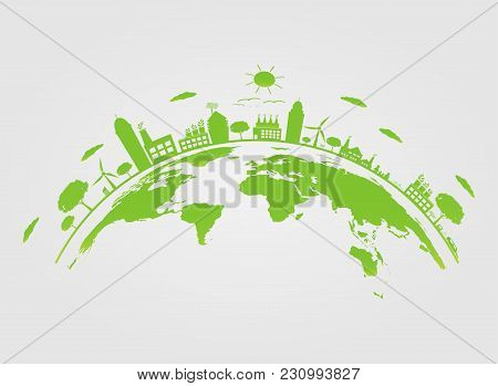 Ecology.green Cities Help The World With Eco-friendly Concept Ideas On Earth.vector Illustration