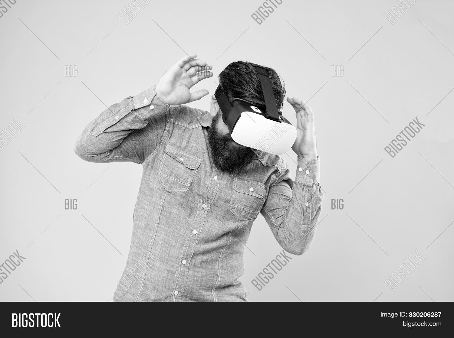 Future Of Entertainment And Communication. Hipster Wear Vr Glasses. Future Vision. Bearded Man Explo