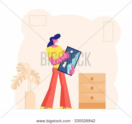 Happy Smiling Woman Holding Framed Picture in Hands Prepare to Hang it on Wall. Household Activity and Home Renovation Concept. Housewife Decorate Apartment Interior Cartoon Flat Vector Illustration stock photo