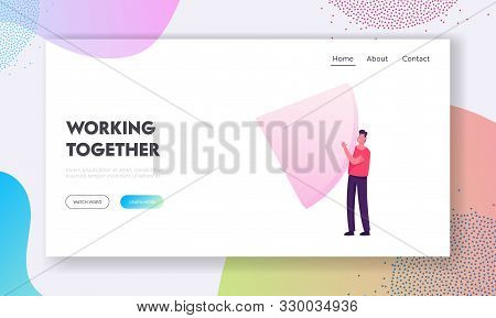 Marketing Data Analysis Presentation Website Landing Page. Businessman Holding Huge Slice of Statistics Pie Chart Analyst Analyze Financial Information Web Page Banner Cartoon Flat Vector Illustration stock photo