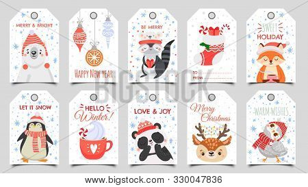 Cute Animals Christmas Tags. Holiday Gift Tag With Winter Owl, Deer And Bears. Happy Animal Celebrat