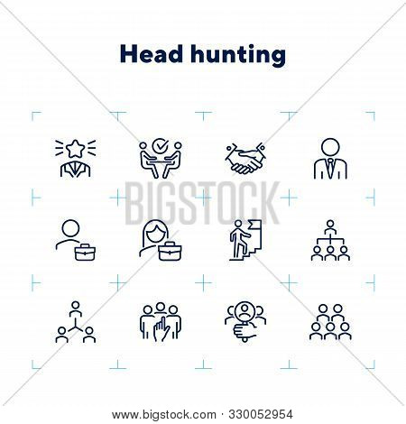 Headhunting icon. Set of line icons on white background. Job interview, hr manager, partnership. Recruitment concept. Vector illustration can be used for topics like business, employment, career stock photo
