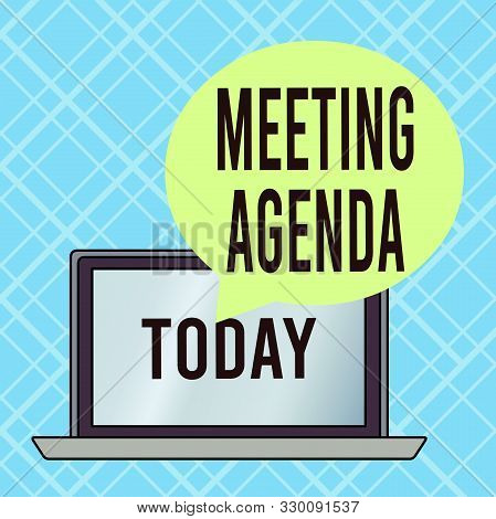 Conceptual hand writing showing Meeting Agenda. Business photo text items that participants hope to accomplish at a meeting Round Shape Speech Bubble Floating Over Laptop Backdrop. stock photo