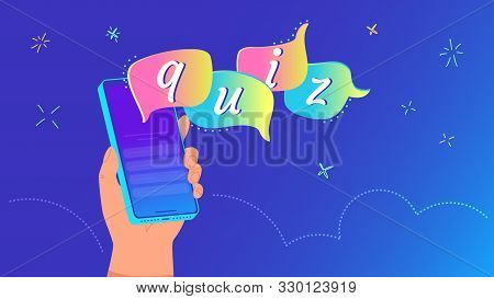 Quiz bubbles on mobile app concept vector illustration of human hand holding smartphone quiz flying out of the screen. People answering questions online using mobile apps on gradient background stock photo
