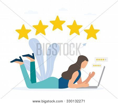 Best estimate of performance, the score of five points. People leave feedback and comments, highest rating for successful work. Vector illustration on white background. stock photo