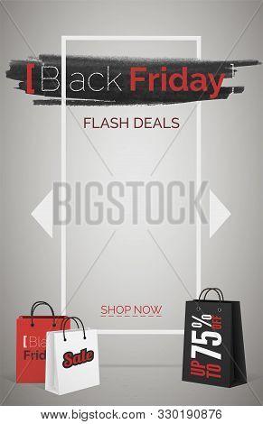 Black friday flash deals web banner vector template stock photo