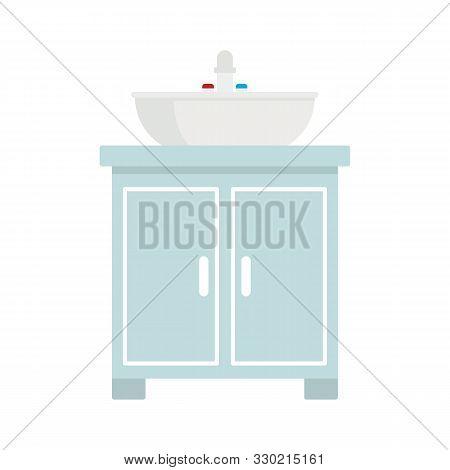 Washbasin flat icon. Vector washbasin in flat style isolated on white background. Element for web, game and advertising stock photo