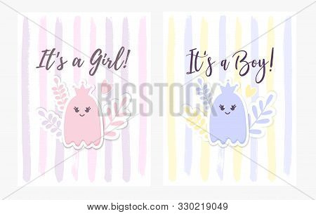 Baby Shower Set. Its a Girl, Its a Boy card with a baby Ghost, Crown, flowers. Cute Baby Arrival announcement, lettering. Kids nursery decor. Halloween childish party greeting postcard. stock photo