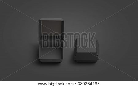 Blank black opened and closed burger box mockup, isolated on dark background, 3d rendering. Empty beef or chicken paella pack mock up, top view. Clear wrapping for lunch mokcup template. stock photo