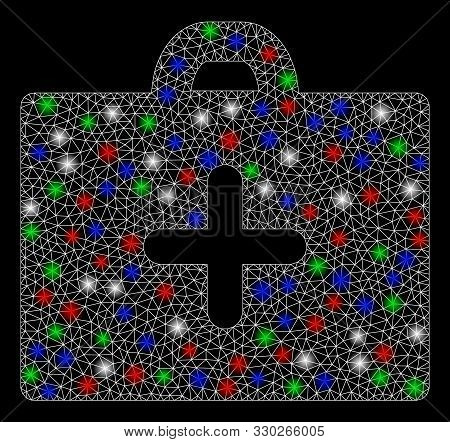 Bright mesh first aid with lightspot effect. White wire carcass triangular mesh in vector format on a black background. Abstract 2d mesh designed with polygonal grid, round dots, colorful flash spots. stock photo