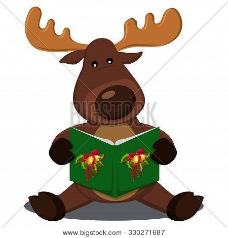 Reindeer singing Christmas carols. Vector cartoon illustration isolated on a white background. stock photo