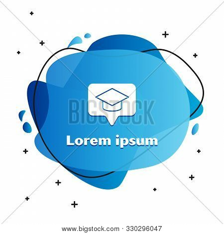 White Graduation cap in speech bubble icon isolated on white background. Graduation hat with tassel icon. Abstract banner with liquid shapes. Vector Illustration stock photo