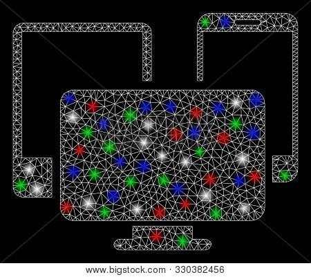 Bright mesh electronic devices with lightspot effect. White wire carcass triangular mesh in vector format on a black background. Abstract 2d mesh designed with triangular lines, round dots, stock photo