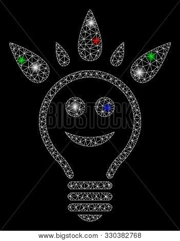 Bright mesh happy light bulb with glare effect. White wire carcass polygonal mesh in vector format on a black background. Abstract 2d mesh built from polygonal grid, small circle, stock photo