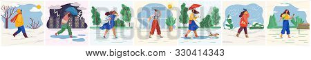 Woman Walking In Sunny And Snowy Weather. Set Of Characters Wearing Clothes To Weather Conditions. R