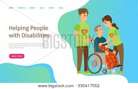 Helping people with disabilities vector, man and woman caring for person sitting in wheelchair, character covered with warm blanket volunteers. Website or slider app, landing page flat style stock photo
