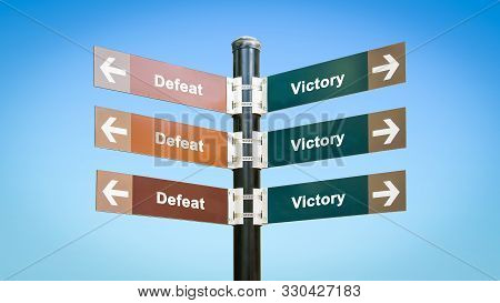 Street Sign the Direction Way to Victory versus Defeat stock photo