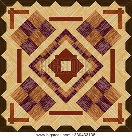 Wooden inlay, light and dark wood patterns. Wooden art decoration template. Veneer textured geometric ornament. stock photo