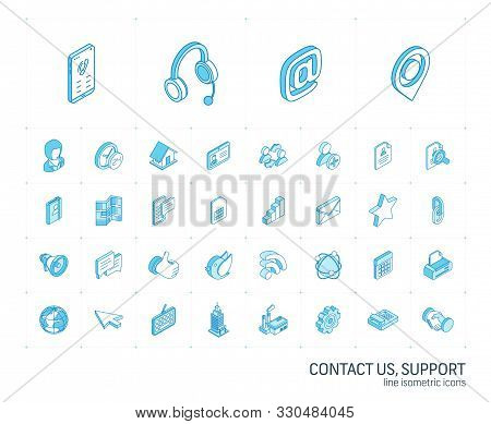 Contact us and Communication isometric line icons. 3d vector stock photo