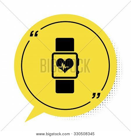 Black Smart watch showing heart beat rate icon isolated on white background. Fitness App concept. Yellow speech bubble symbol. Vector Illustration stock photo