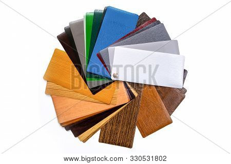 Samples for lamination. Multi-colored laminate. Color palette stock photo