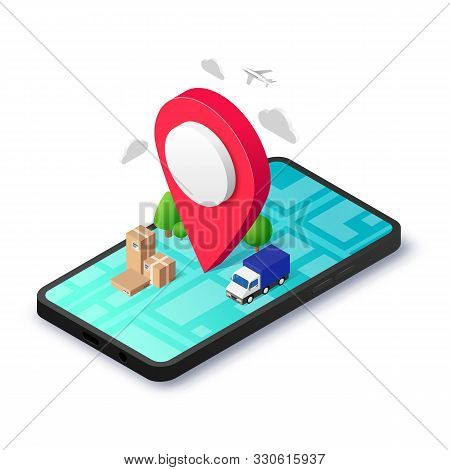 GPS town delivery isometric concept app. Route map, pin, package box on 3d smartphone screen. Search geo location service design. Navigation Vector illustration for web, mobile, advert, banner stock photo