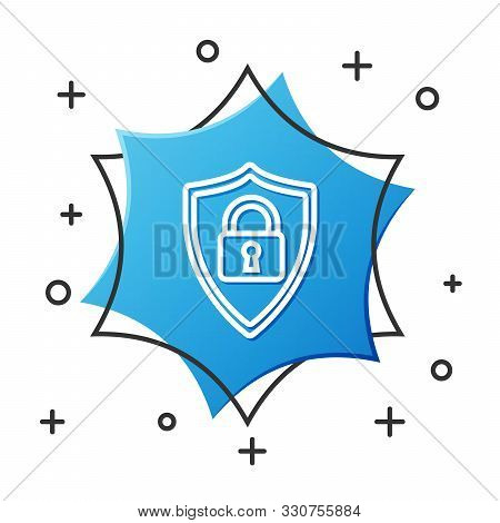 White line Shield security with lock icon isolated on white background. Protection, safety, password security. Firewall access privacy sign. Blue hexagon button. Vector Illustration stock photo