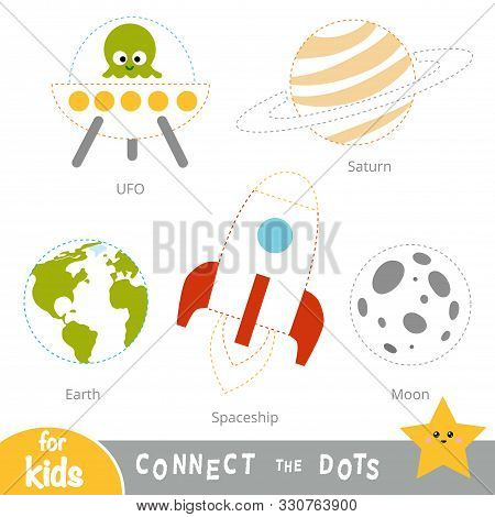 Connect the dots, education game for children. A set of space objects - Earth, Moon, Spaceship, Saturn, UFO stock photo