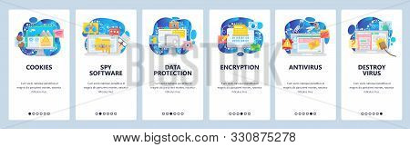 Mobile app onboarding screens. Cyber security, virus malware attack, encryption, data protection, cookies. Vector banner template for website and mobile development. Web site design illustration stock photo