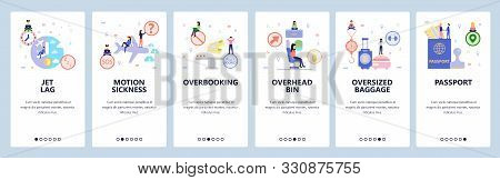 Mobile app onboarding screens. Travel by airplane, jetlag, flight booking, passport, baggage. Menu vector banner template for website and mobile development. Web site design flat illustration stock photo