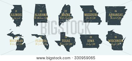 Set 3 of 5 Highly detailed vector silhouettes of USA state maps with names and territory nicknames stock photo